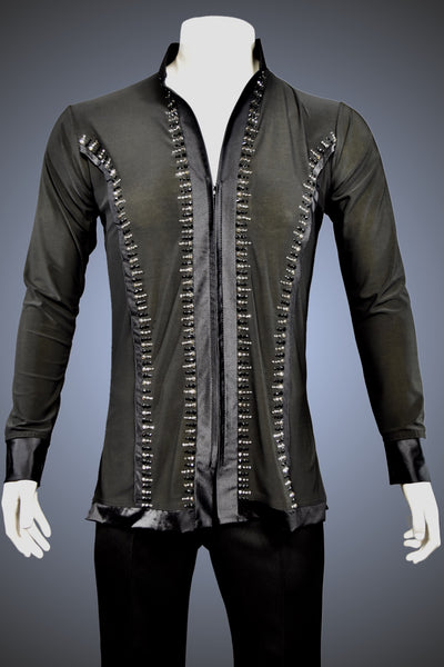LIMITED EDITION: Mandarin Collar Latin/Rhythm Shirt with Satin Trim and Jet and Hematite Rhinestone Accents - Shirt by Randall Ready