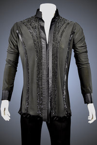 LIMITED EDITION: Mandarin Collar Latin/Rhythm Shirt with Satin Trim and Jet Rhinestone Accents - Shirt by Randall Ready