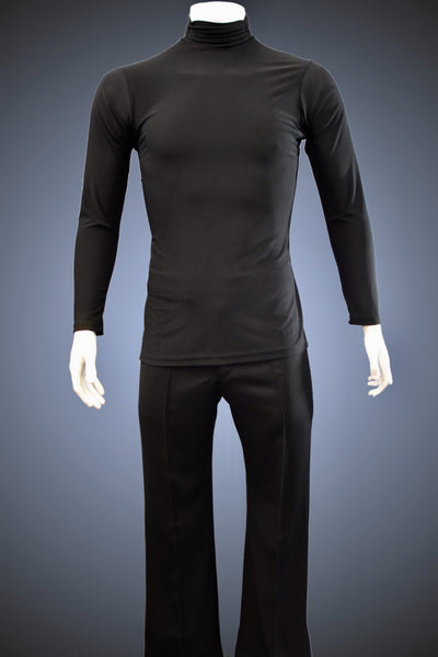 Turtleneck Latin/Rhythm Shirt with Gathered Turtleneck Collar and Side Slits - GS301 - Shirt by Randall Ready