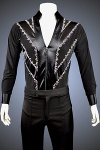 LIMITED EDITION: Men's Latin/Rhythm Shirt with Satin Diagonal Stripes and Rhinestone Accents - Shirt by Randall Ready