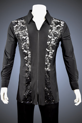 "LIMITED EDITION: Men's ""Outside"" Shirt with Lace Panels with Rhinestone Accents - Shirt by Randall Designs"