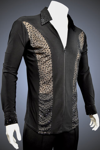 LIMITED EDITION: Men's Latin/Rhythm Shirt with Sheer Panels with Jet Rhinestone Accents - Shirt by Randall Ready
