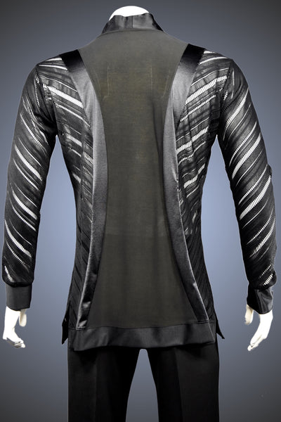 V-Neck Diagonal Open-Weave Chevron Latin/Rhythm Shirt - GS65 - Shirt by Randall Ready