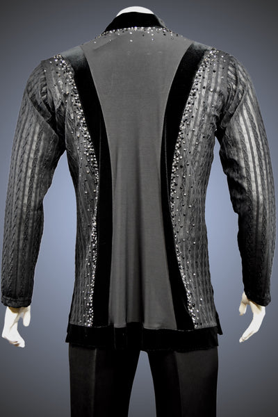 LIMITED EDITION: V-Neck Open-Weave Latin/Rhythm Shirt with Jet and Hematite Rhinestone Accents - Shirt by Randall Ready