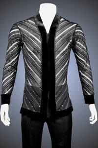 LIMITED EDITION: V-Neck Open-Weave Chevron Latin/Rhythm Shirt with Hematite Rhinestone Accents - Shirt by Randall Ready