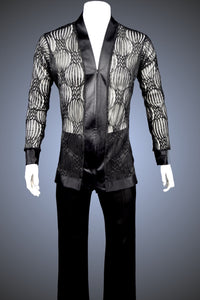 Black and Sheer Filigree V-Neck Latin/Rhythm Shirt with Satin Trim - GS70 - Shirt by Randall Ready