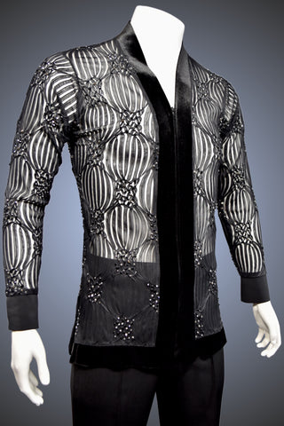 LIMITED EDITION: Black & Sheer Filigree V-Neck Latin/Rhythm Shirt with Velvet Trim and Jet and Hematite Rhinestone Accents - Shirt by Randall Ready