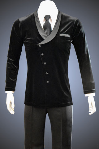 Angled Asymmetrical Velvet Lounge Smooth Jacket with Shawl Collar - JK103 - Jacket by Randall Ready