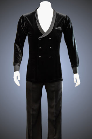 Latin Style Velvet Lounge Smooth Jacket with French Cuffs and Side Slits - JK104 - Jacket by Randall Ready