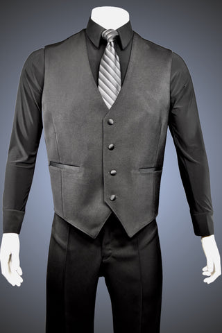 Single-Breasted Dance Vest with Classic Point Hem and No Lapels - Vest3 - Jacket by Randall Ready