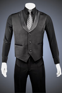 Single-Breasted Dance Vest with Classic Point Hem and Shawl Collar - Vest4 - Jacket by Randall Ready