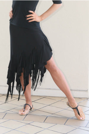 Ladies Asymetrical Latin/Rhythm Skirt with Circular Jersey and Fringe Panels - LS108 - Skirt by Randall Designs