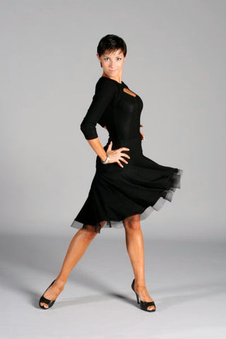 Ladies Latin Skirt with Fitted Yoke and Circular Ruffle - LS04 - Skirt by Randall Designs