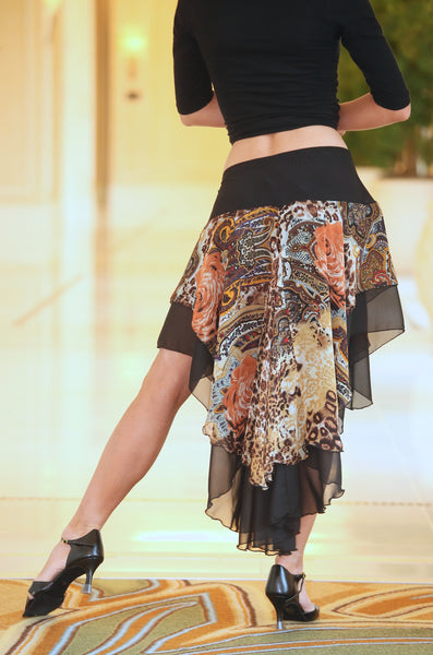 Ladies Chiffon Latin/Rhythm Latin Skirt with Animal Print - LS111-A - Skirt by Randall Designs