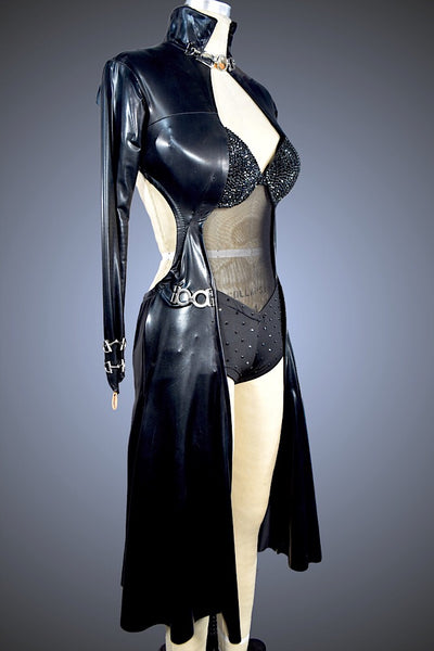 Black Pleather Coat with Buckles and Boyshorts - Dress by Randall Designs