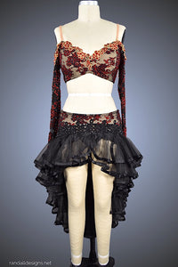 Black & Red Lace Two-Piece with Ruffle (Tulle) Skirt - Dress by Randall Designs