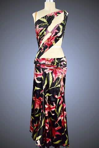 Black and Floral Print Satin Wrap Top Ballgown - Dress by Randall Designs
