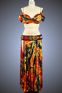 Black Versace Print Two-Piece Gold & Red Silk with Belt - Dress by Randall Designs