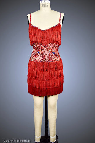 Red Fringe Latin Dress - Dress by Randall Designs