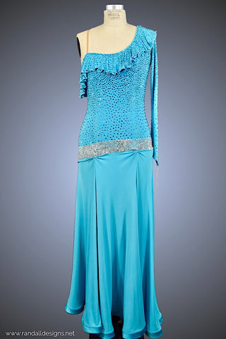Turquoise Gown with Neckline Ruffle - Dress by Randall Designs