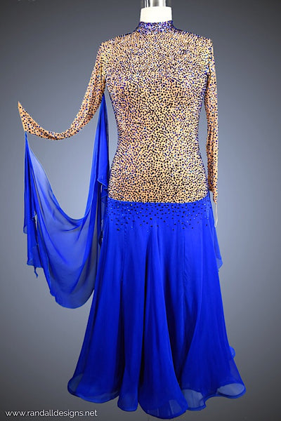 Cobalt Blue Gown with Nude Bodice - Dress by Randall Designs
