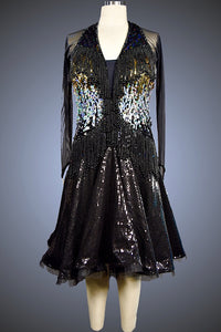 Black, Silver, and Gold Sequin with Black Sequin Skirt - Dress by Randall Designs