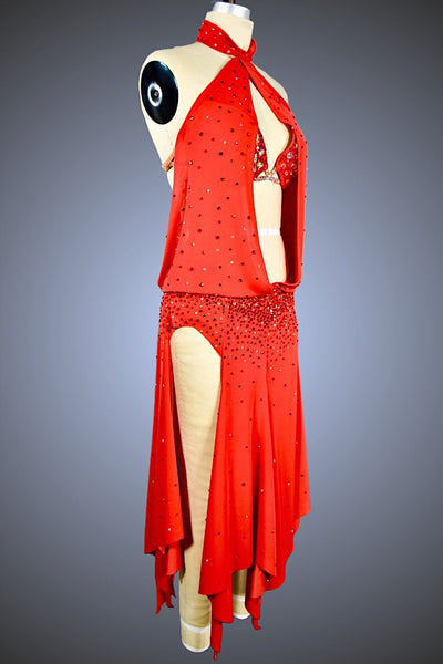 Red Drape Halter with Flared Asymmetrical Panel Skirt - Dress by Randall Designs