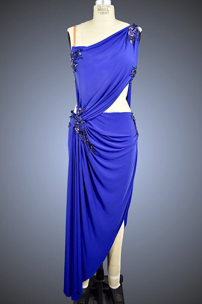 Blueberry-Draped Latin/Rhythm with Applique Detail - Dress by Randall Designs