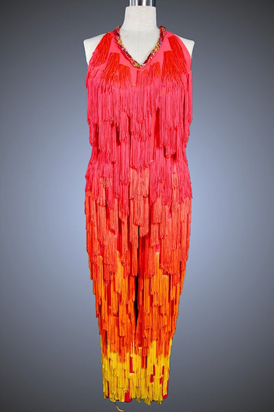 Flame Red, Orange and Yellow Fringe Jumpsuit - Pantsuit by Randall Designs