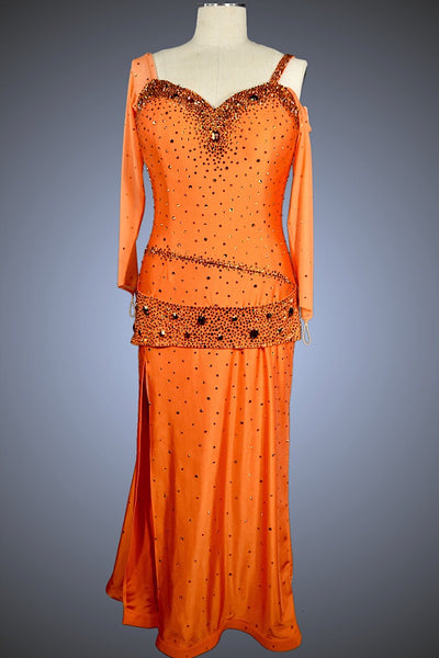 Tangerine Ballgown with Right Leg Slit - Dress by Randall Designs