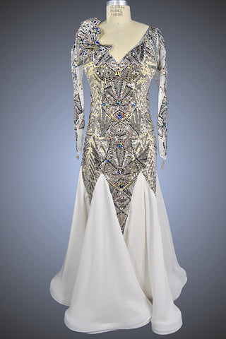 Silver and White Art Deco Ballgown - Dress by Randall Designs