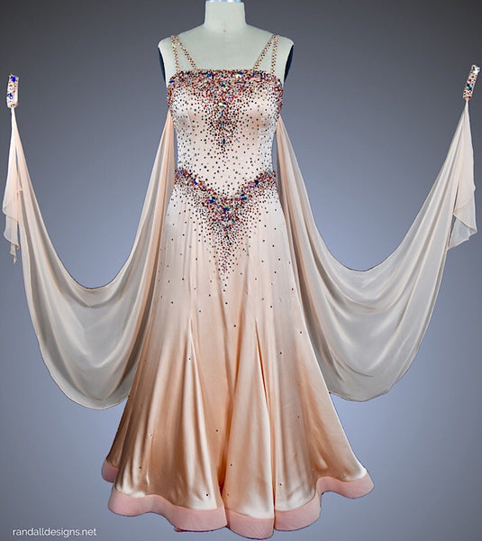 Peach Satin Ballgown - Dress by Randall Designs