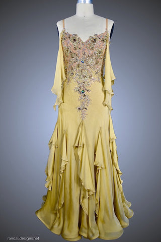 Iridescent Gold Silk Ballgown with Gold and AB rhinestones - Dress by Randall Designs