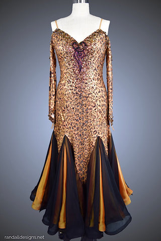 Leopard Print Gown with Iridescent Gold Underskirt - Dress by Randall Designs