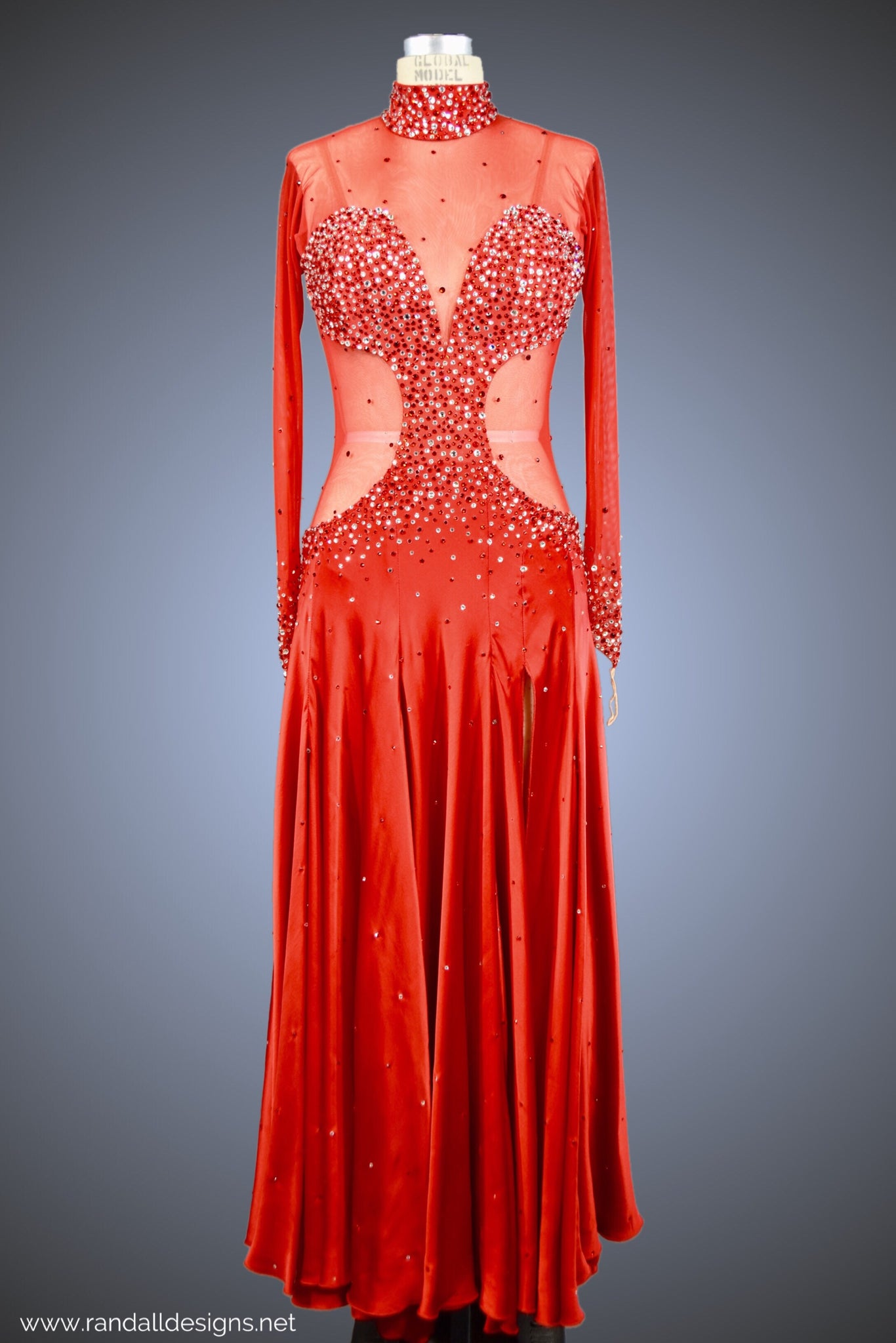 Red Silk Charmeuse Gown with Red Mesh & Jersey Bodice - Dress by Randall Designs