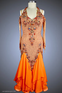 Nude with Gold Applique and Orange Skirt - Dress by Randall Designs