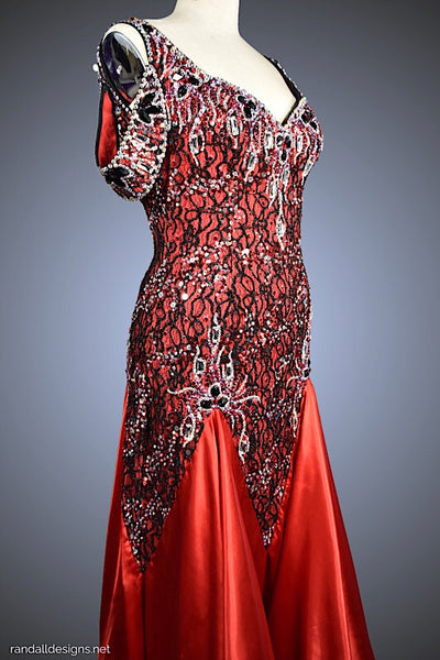 Red & Black Jeweled Lace with Red Satin Charmeuse Godets - Dress by Randall Designs