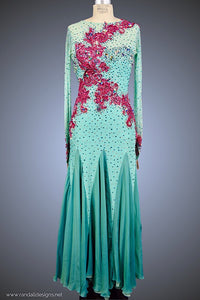 Aqua Ballgown with Jeweled Fuchsia Appliqué - Dress by Randall Designs