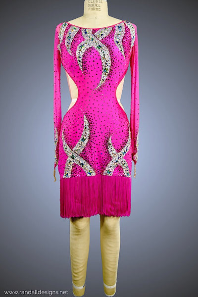 Cerise Dress with Silver Serpentine Detail - Dress by Randall Designs