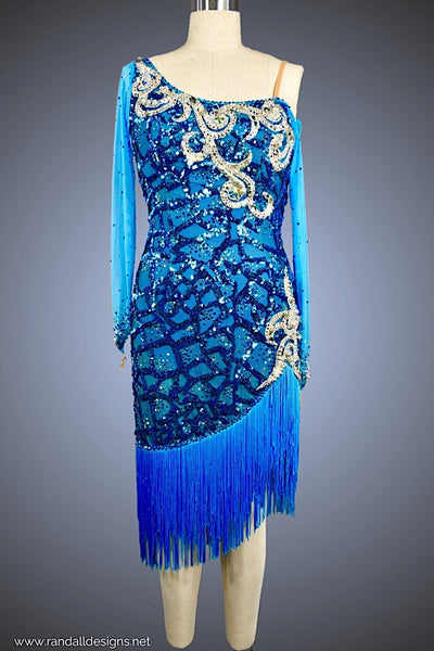 Turquoise Sequin with Fringe and Silver Appliqué - Dress by Randall Designs