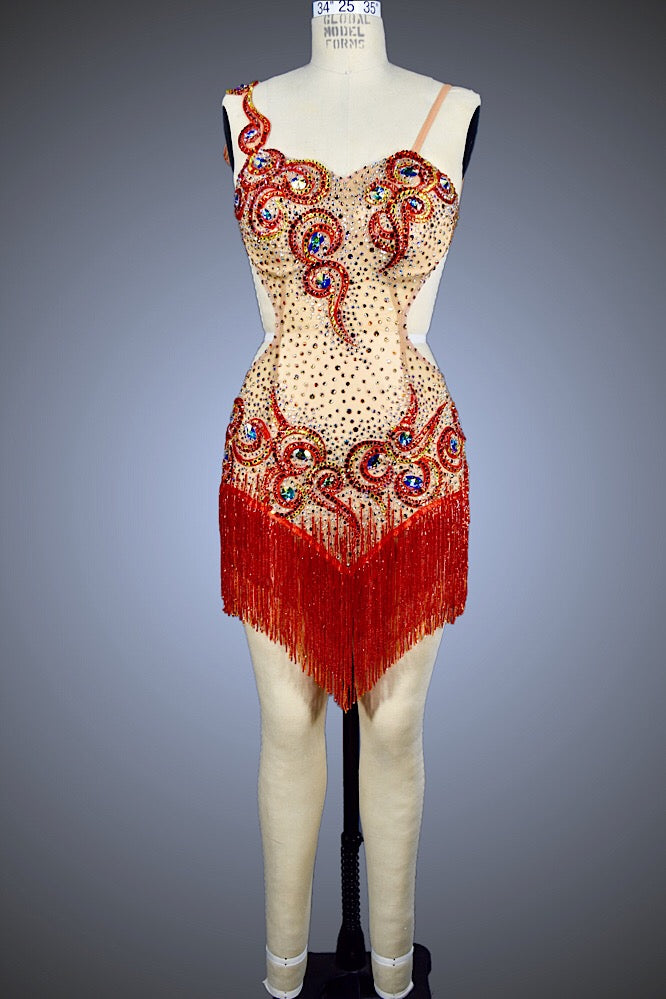 Red Beaded Fringe and Nude Mesh - Dress by Randall Designs