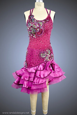 Magenta with Horsehair Trimmed Ruffles - Dress by Randall Designs
