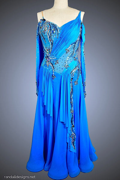 Turquoise Gown with Chiffon Skirt and Jersey Ruching - Dress by Randall Designs