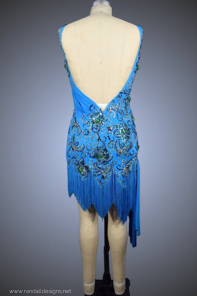 Turquoise with Zig-Zag Fringe Hemline - Dress by Randall Designs