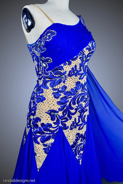 Cobalt Blue Applique over Nude with Chiffon Godets - Dress by Randall Designs