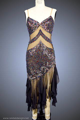 Black Mesh with Multi-Color Rhinestones - Dress by Randall Designs