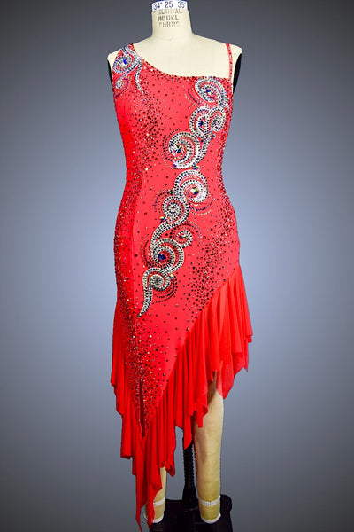 Flame Red with Asymmetrical Neckline and Mesh Skirt - Dress by Randall Designs