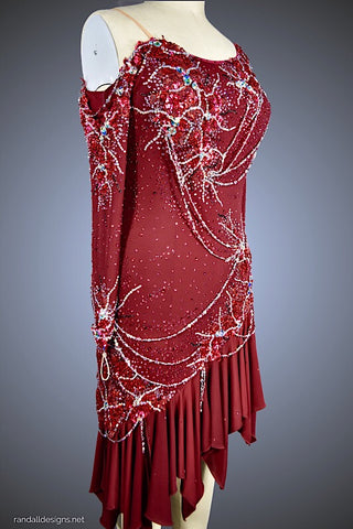 Bordeaux Dress with Rhinestone Chain Accents - Dress by Randall Designs