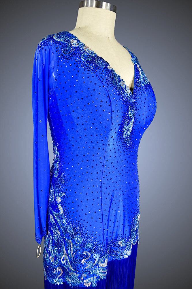 Royal Blue Latin with Blue Fringe - Dress by Randall Designs