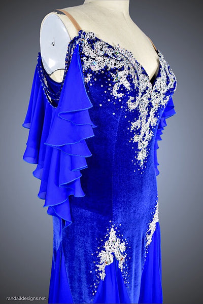Sapphire Blue/Silver Velvet Ballgown - Dress by Randall Designs